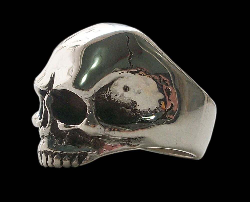 Sterling Silver Keith Richards Skull Ring Solid Inside 26