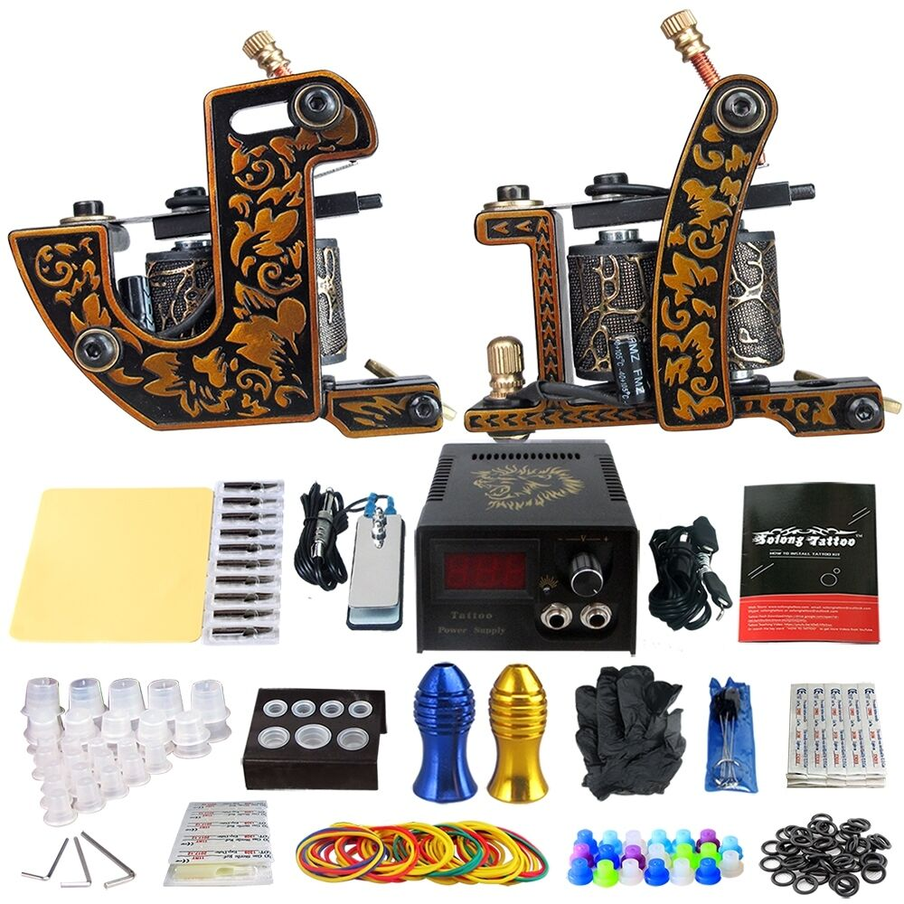 Solong tattoo kits 2 pro machine gun power supply 20 for Tattoo supplies ebay