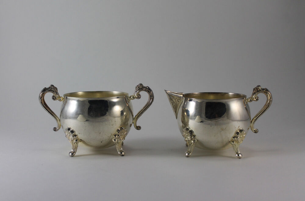 Vintage Silver Plate Footed Creamer Pitcher And Sugar Bowl
