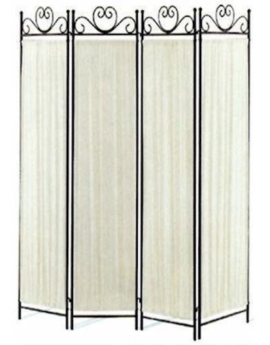 4 Panel Fabric And Metal Screen Room Divider Ebay