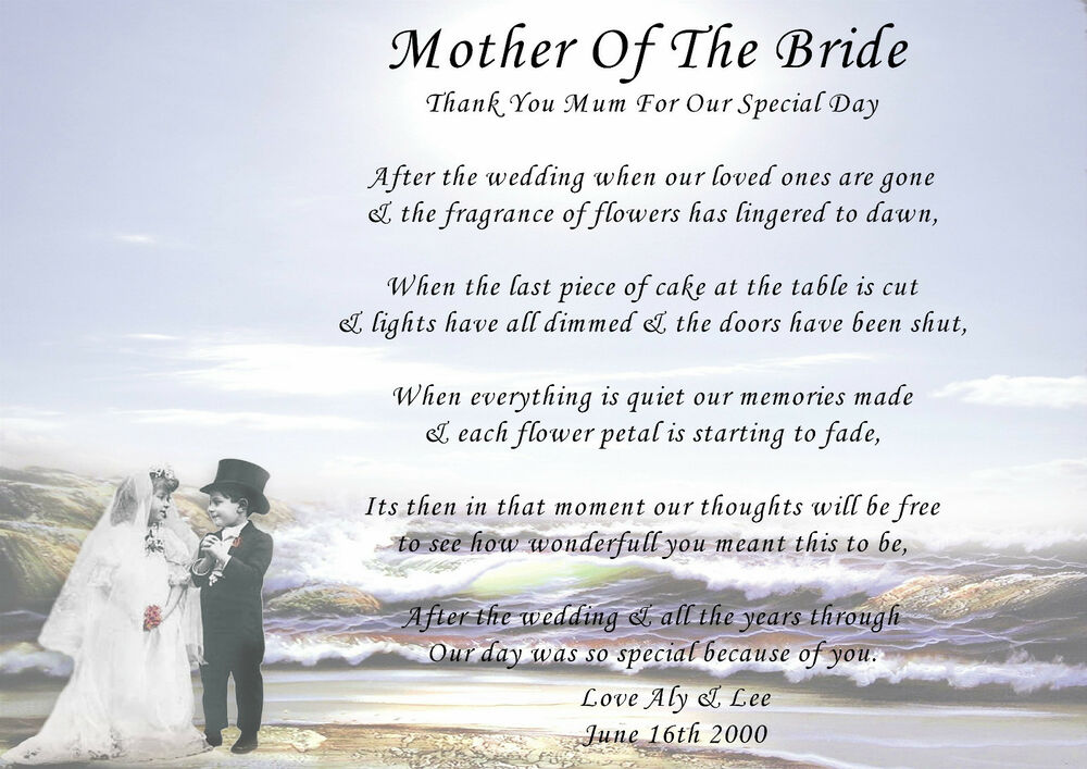 Personalised Mother Of The Bride Groom Thank You Poems