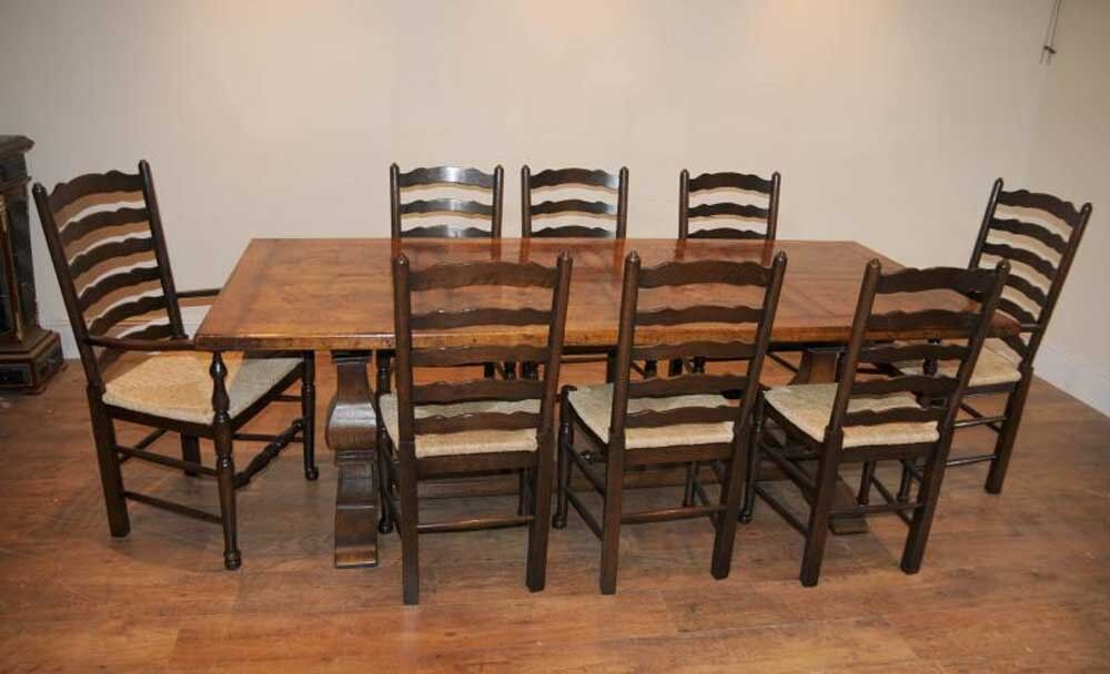 ladderback chair refectory table kitchen dining set farmhouse ebay. Black Bedroom Furniture Sets. Home Design Ideas