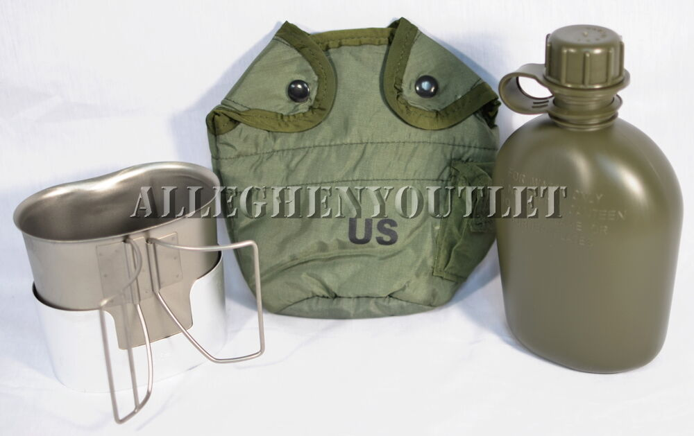 Usgi Military 1 Qt Plastic Canteen Set W Cover Stainless