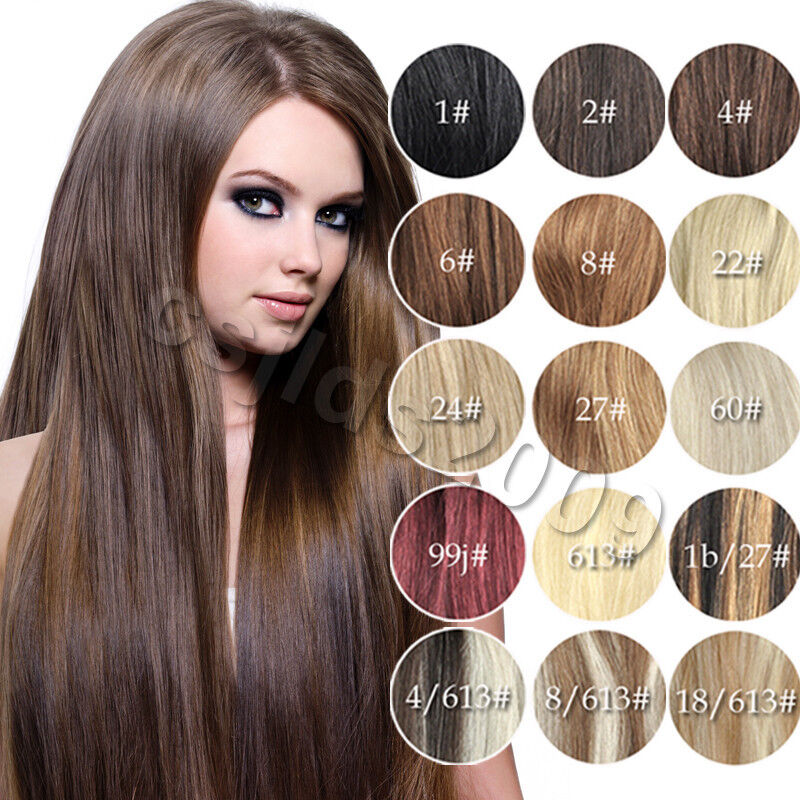 14 Quot 30 Quot 100 Clip In Real Human Hair Extensions Black