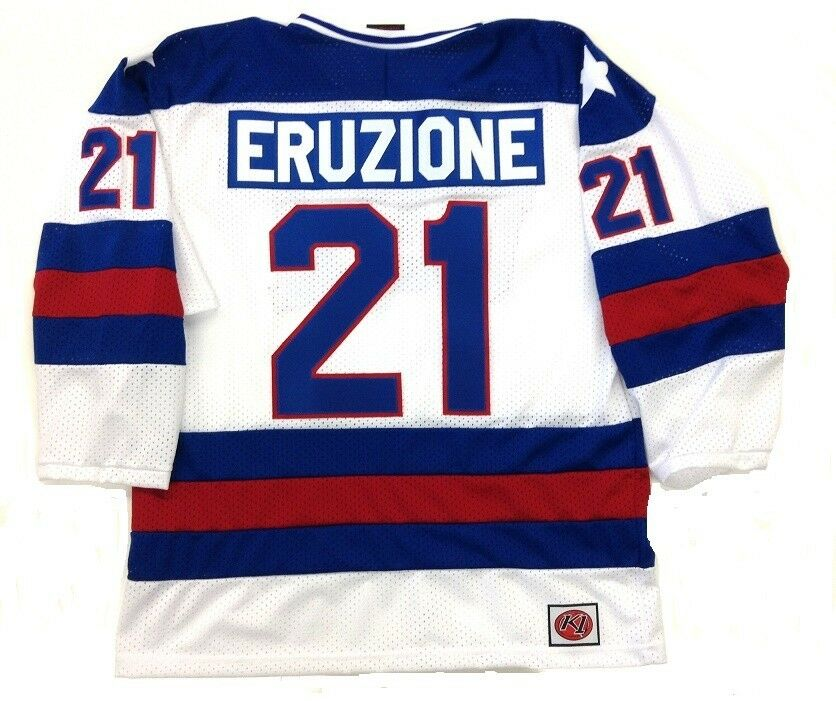 Details about MIKE ERUZIONE TEAM USA HOCKEY WHITE JERSEY 1980 GOLD MEDAL