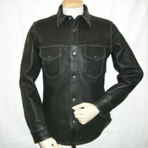 Mens nappa black leather full sleeve shirt brand new lll for Mens shirts with leather