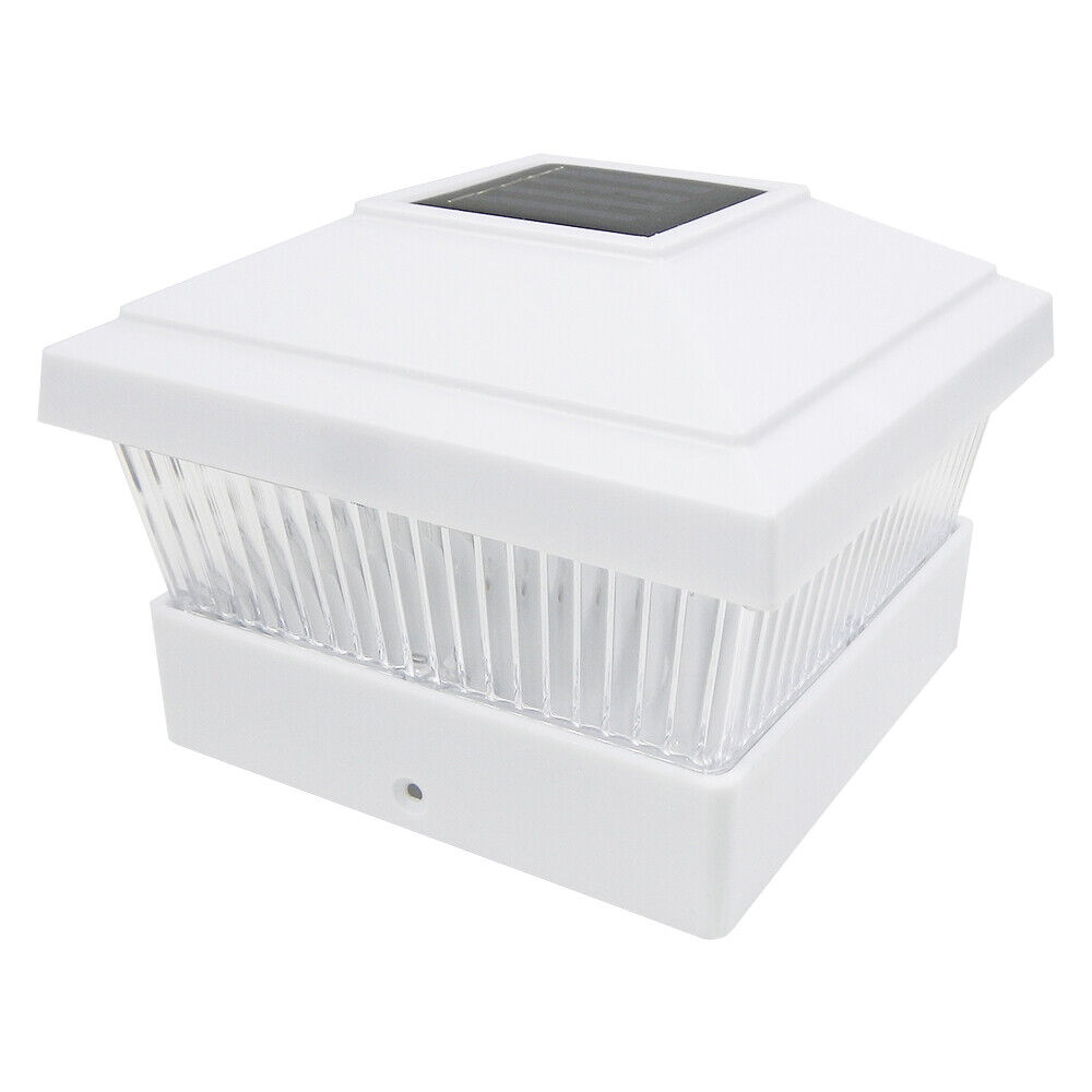 8 White 5 X 5 Solar Led Post Light Deck Cap Fence