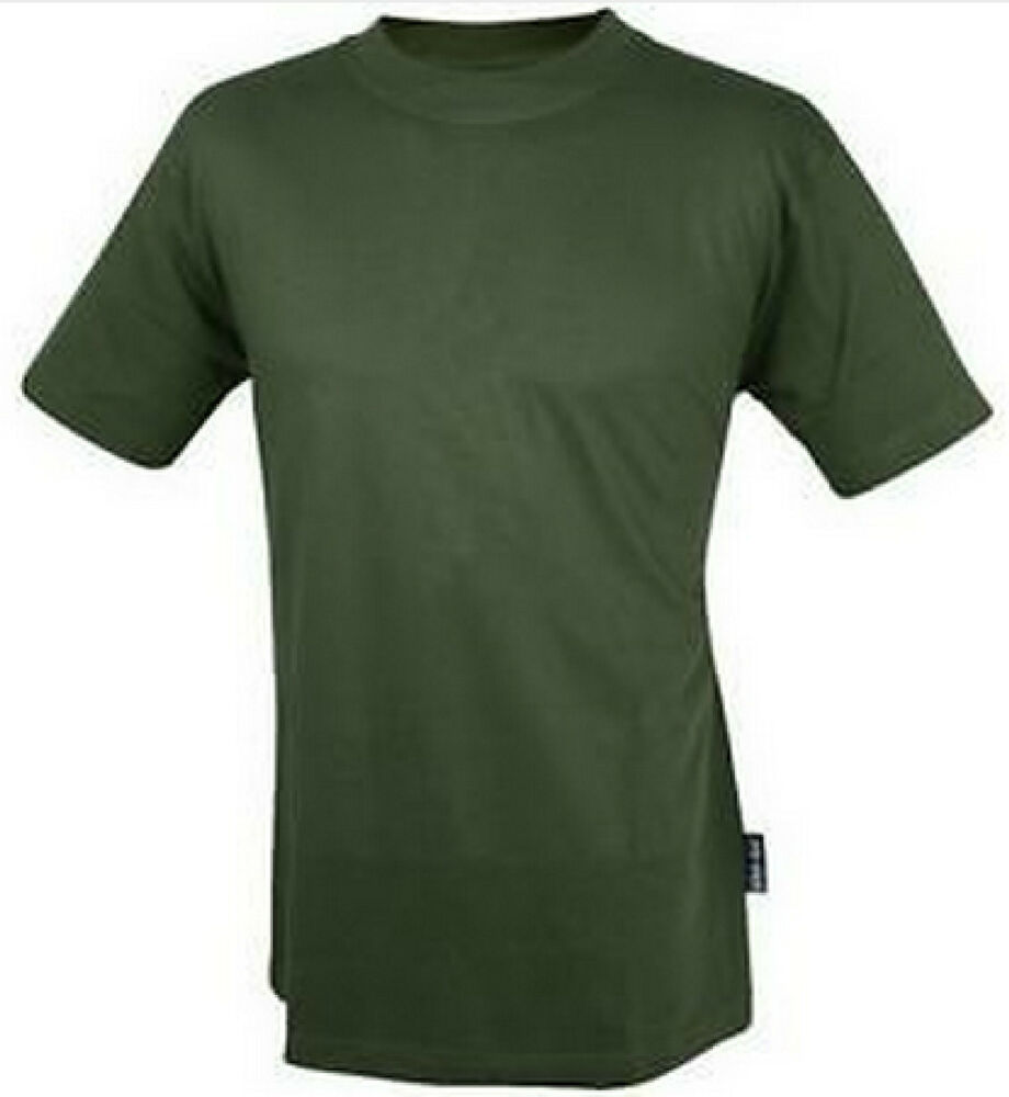 Web tex olive green tee t shirt quality plain british army for Gildan camouflage t shirts