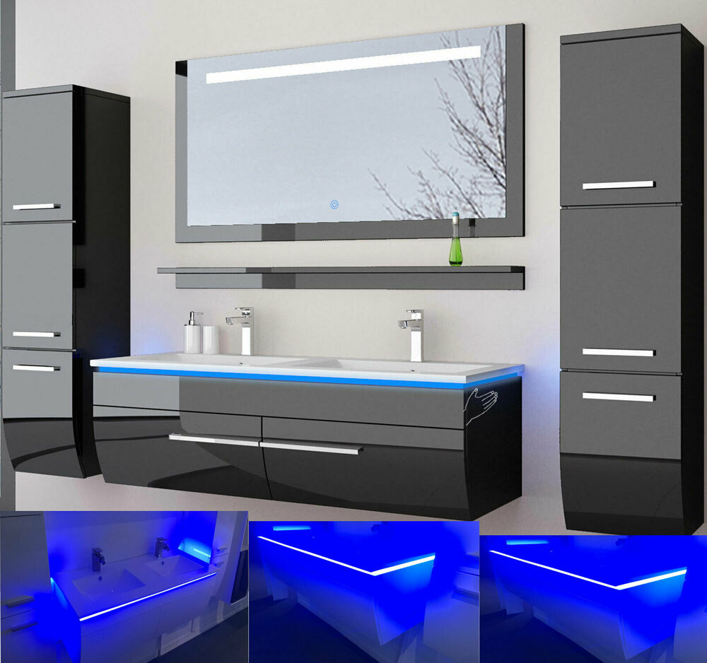 doppelwaschtisch 120 schwarz weiss hochglanz doppel waschbecken badm bel set bad ebay. Black Bedroom Furniture Sets. Home Design Ideas