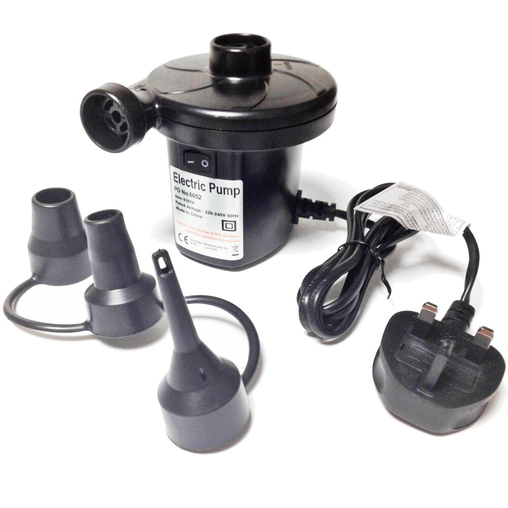 Mains Electric Air Pump Blow Up Airbed Bed Lilo Double