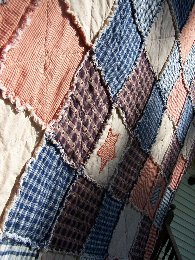 Frontier Primitive Rag Quilt Twin Size Country Star