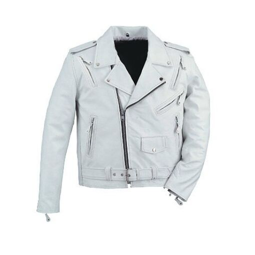 Mens leather white biker motorcycle jacket brand new LLL ...