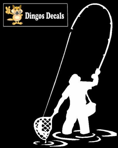Fishermen fly fishing vinyl decal window sticker white ebay for Fishing stickers and decals