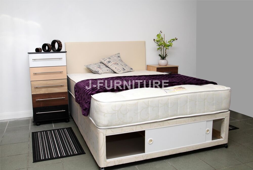 Small double single double king luxury divan bed with for Double divan bed with firm mattress