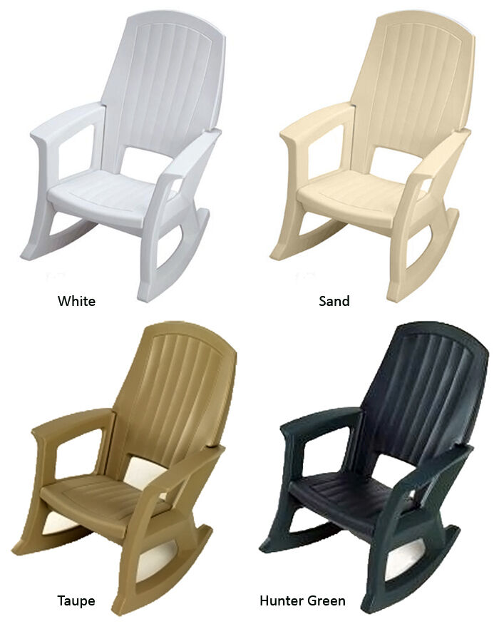 Rocking Chairs Comfortable Outdoor Plastic Patio Rockers Available In 4 Colors Ebay
