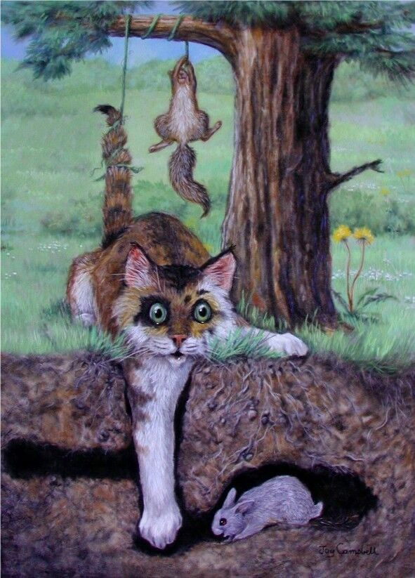 How To Contact Seller On Ebay >> Cat Kitten rabbit squirrel ACEO print from original pastel by Joy Campbell | eBay
