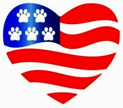 Red White Blue Heart Shaped Paw Magnet Ebay