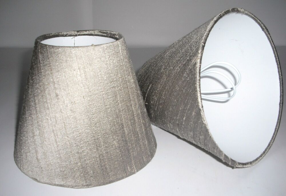 Candle Lampshades Handmade In Uk Taupe Silk Ebay