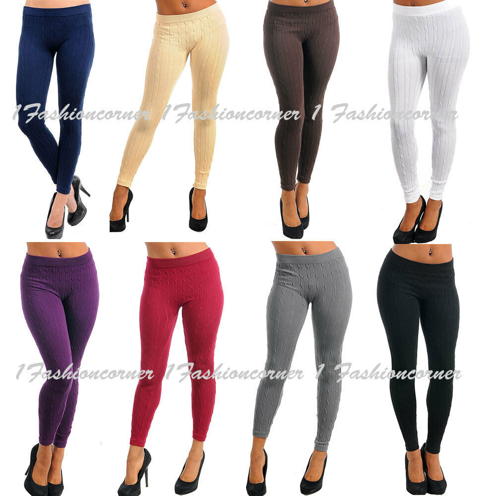 S/M Stretchy,Sweater Knit Winter Cable Leggings.Choose a Color ...