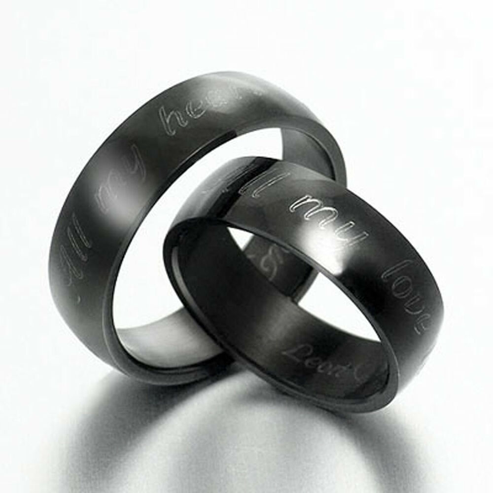 His&Her Black Matching Wedding Engagement Titanium Rings ...