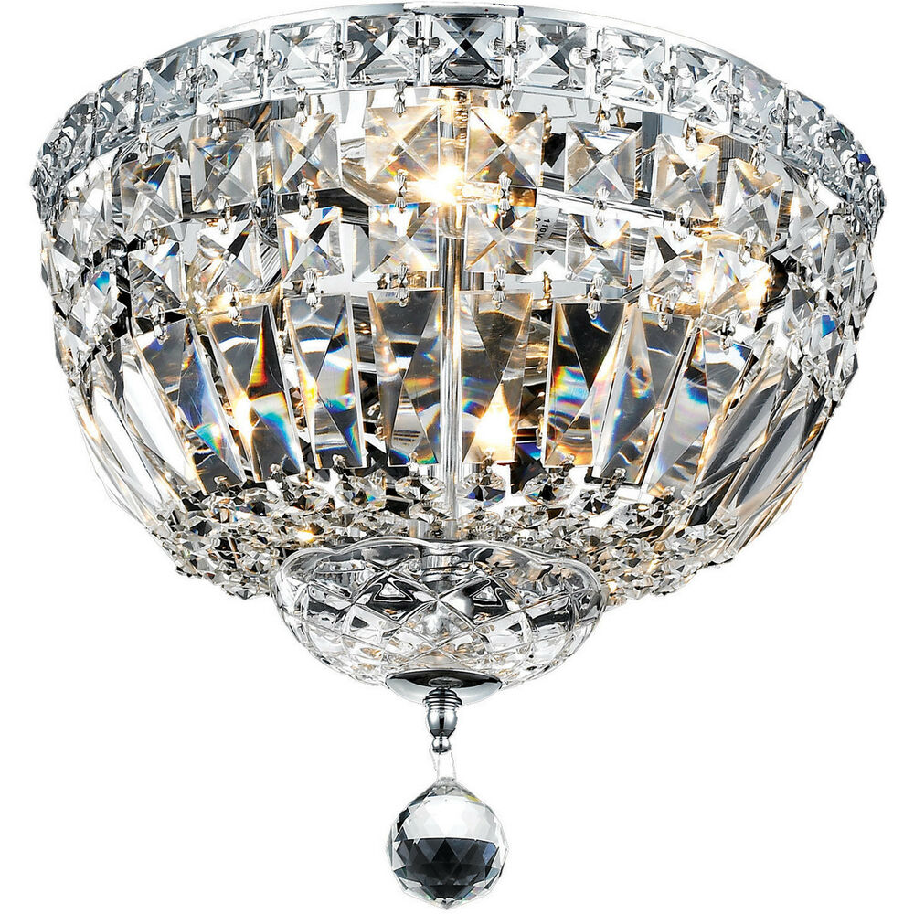 Flush Ceiling Chandeliers: 4 LIGHT QUALITY SEMI FLUSH CHANDELIER ASFOUR CRYSTAL
