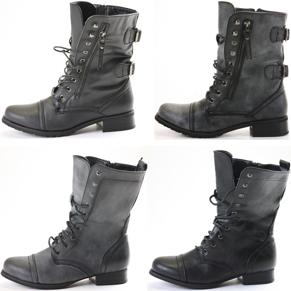 Ladies Womens Girls Flat Army Combat Biker Lace Up Military Ankle ...