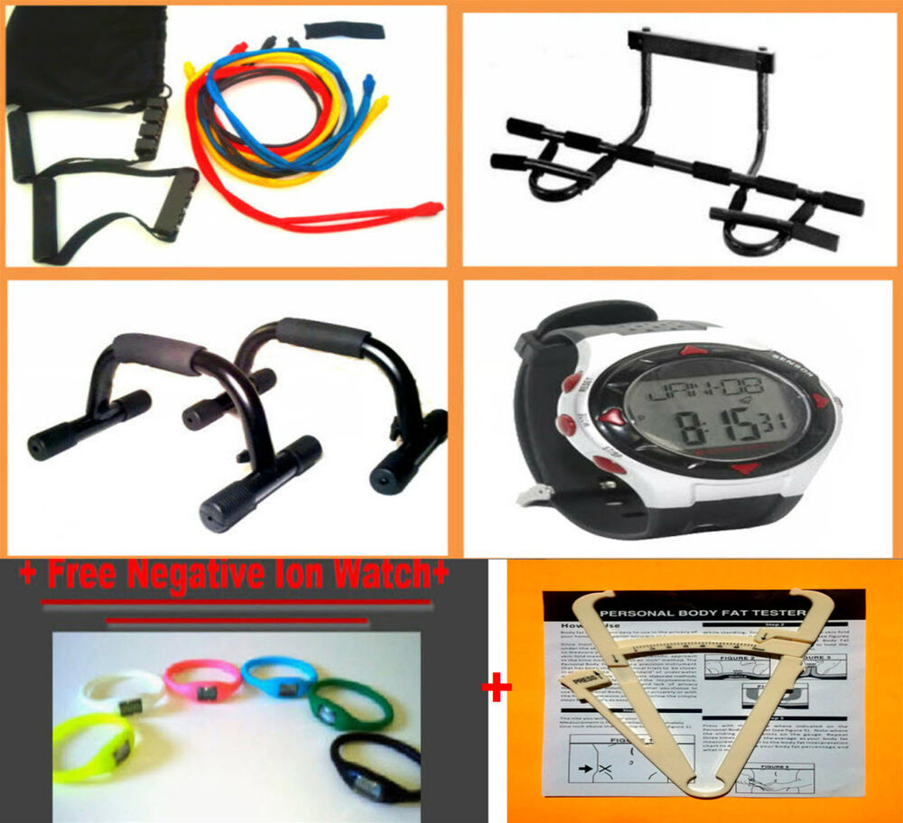Exercise Bands Bar: 1 PULL CHIN UP BAR +EXERCISE RESISTANCE POWER BANDS SET