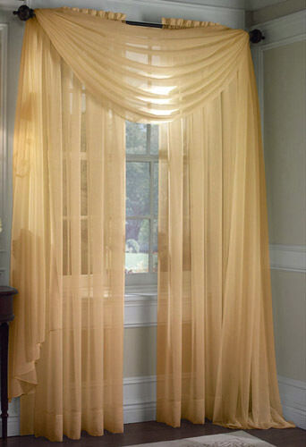 1 Pc Solid Gold Scarf Valance Soft Voile Sheer Window