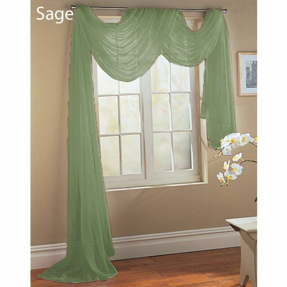Sage 1 Pcs. Soft Sheer Voile Window Panel Solid Scarf