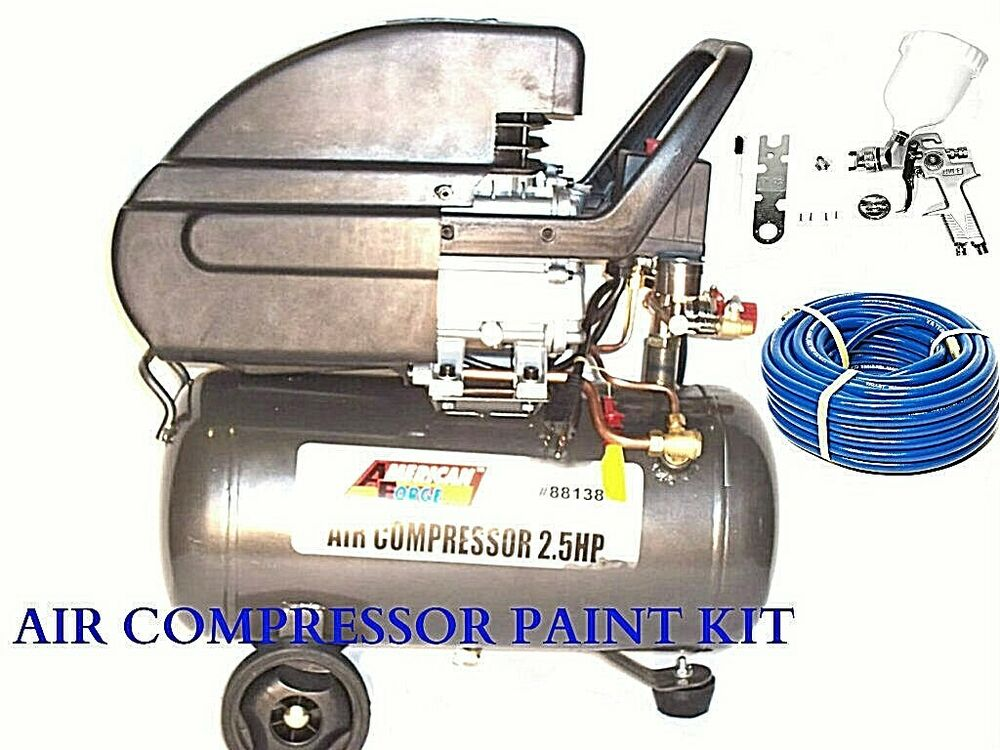 6 gallon air compressor with hvlp spray paint gun 1 4 and. Black Bedroom Furniture Sets. Home Design Ideas
