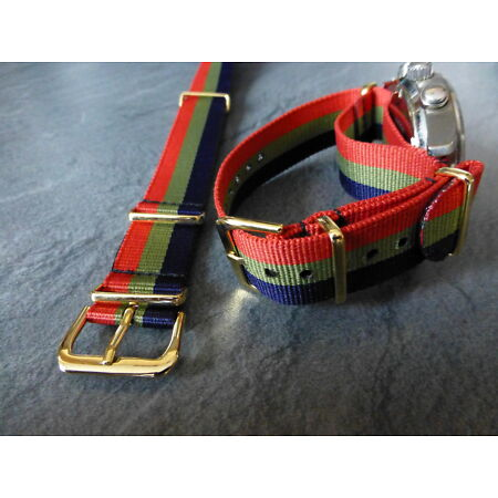 img-Royal Scots, red, green and blue G1098 watch strap, Gilt fittings, Army.