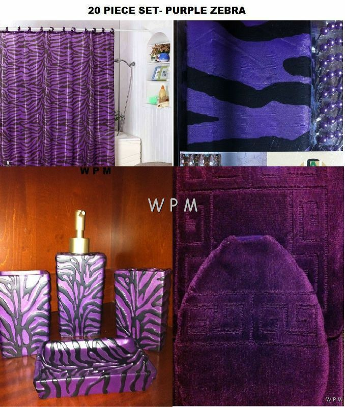 complete bath accessory set purple bathroom rugs zebra print shower curtain ebay. Black Bedroom Furniture Sets. Home Design Ideas