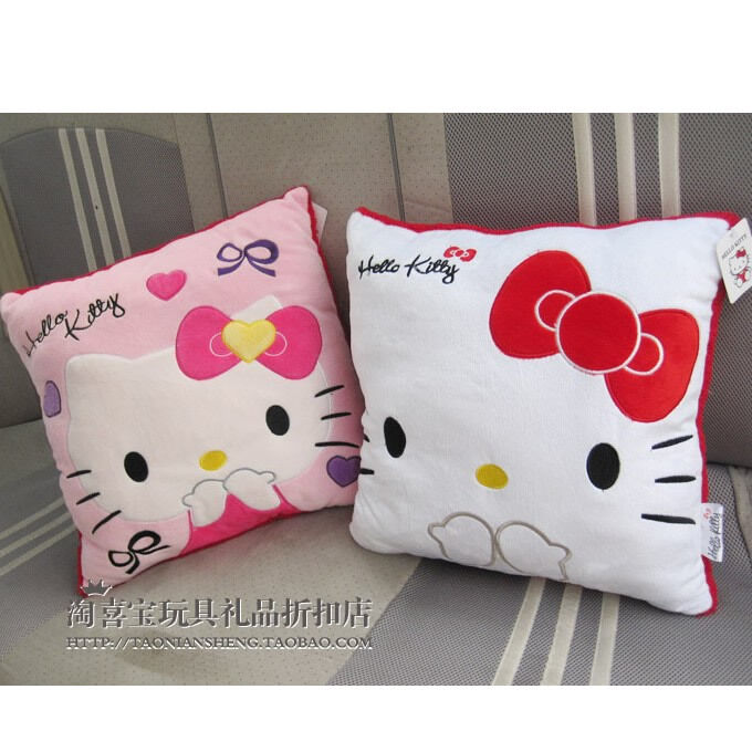 A Pair Of Cute Hello Kitty Square Plush Cushions Pillow