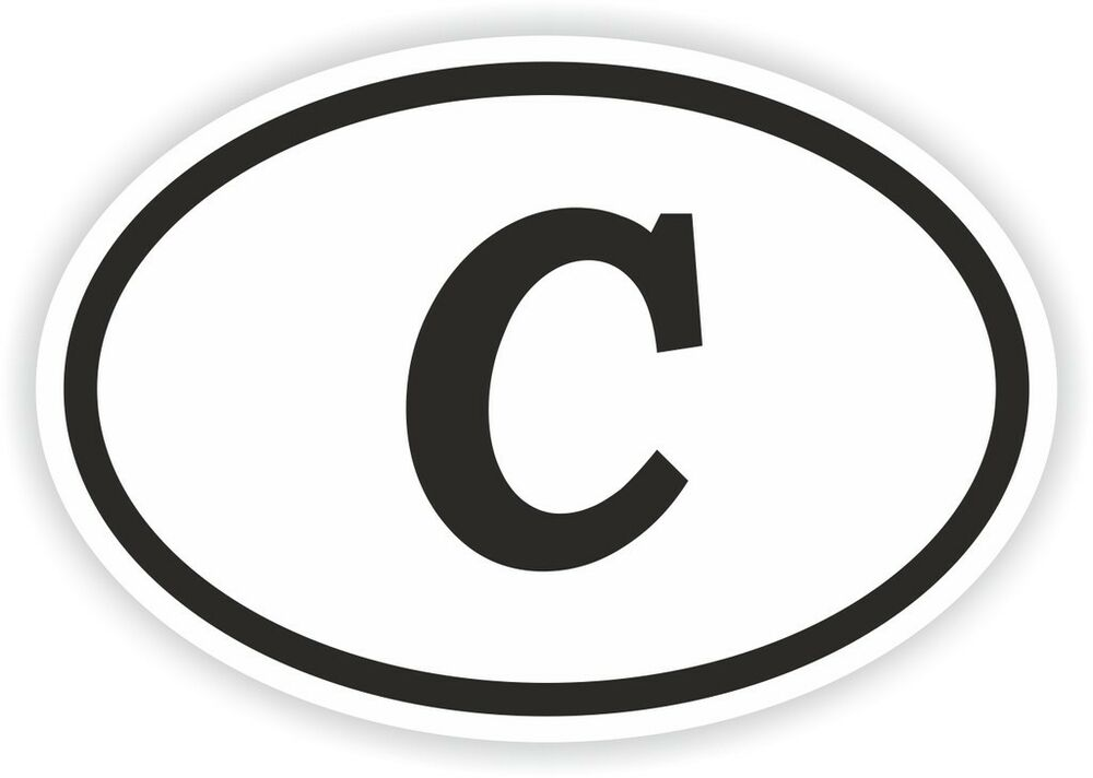 c alphabet letter oval sticker bumper decal car motocross With oval stickers on cars with letters