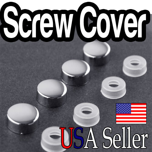 4 Pcs Chrome License Plate Frame Screw Cap Caps For Car