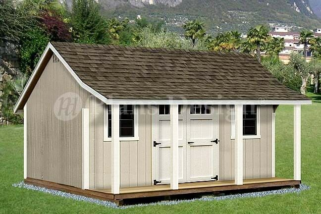12 39 x 16 39 shed with porch pool house plans p81216 free for Barn house plans with porches