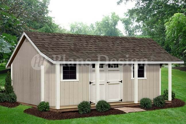 12 X 20 Storage Shed With Porch Playhouse Plans