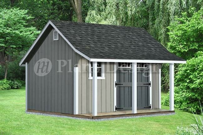 14 39 x 12 39 backyard storage shed with porch plans p81412 for Outside buildings design