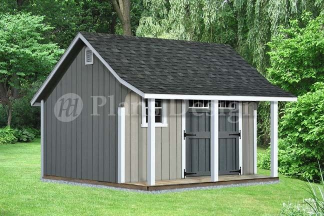 14 39 x 12 39 backyard storage shed with porch plans p81412 for Storage building designs