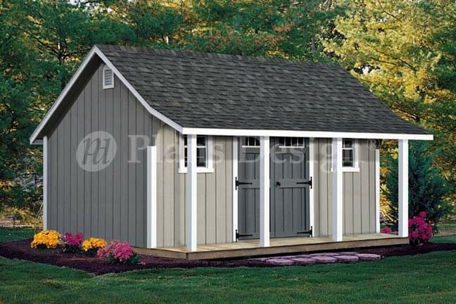 14 39 x 16 39 cape code storage shed with porch plans p81416 for Shed with porch