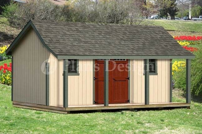 16x20 ft guest house storage shed with porch plans p81620 for Sheds with porches for sale