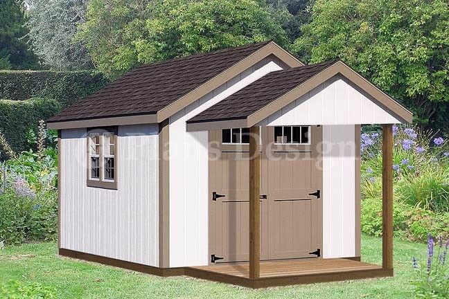 16 39 x 10 39 potting patio shed with porch plans p71610 for Potting shed plans free