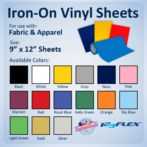 iron on heat transfer vinyl for fabric 9 x 12 sheets for all cutting machines ebay. Black Bedroom Furniture Sets. Home Design Ideas