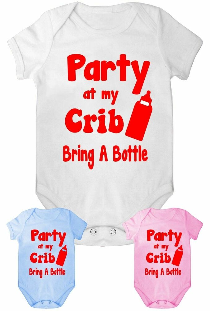 Funny Baby Gifts Uk : Party at my crib funny babygrow vest baby clothing gift