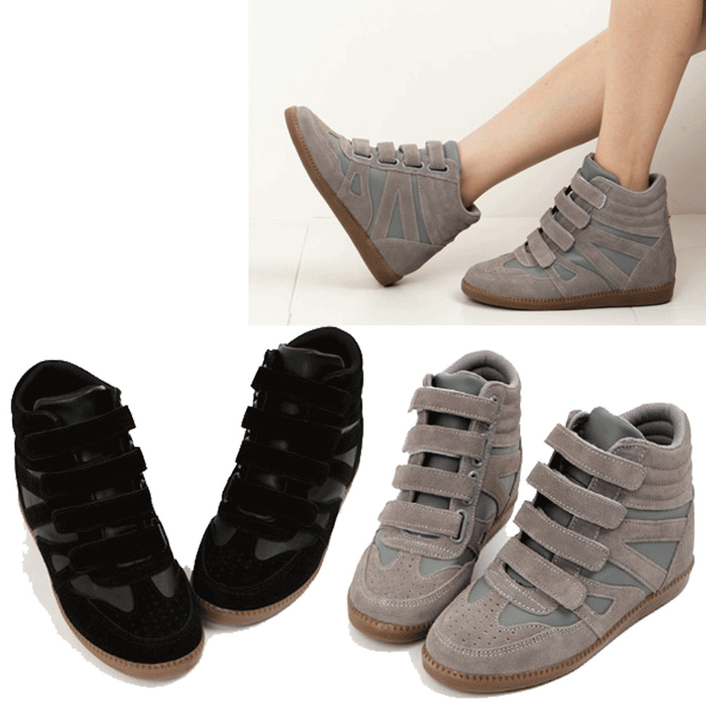 Epic7snob Womens Shoes High Top Wedges Hidden Heel Velcro Style Fashion Sneakers | EBay
