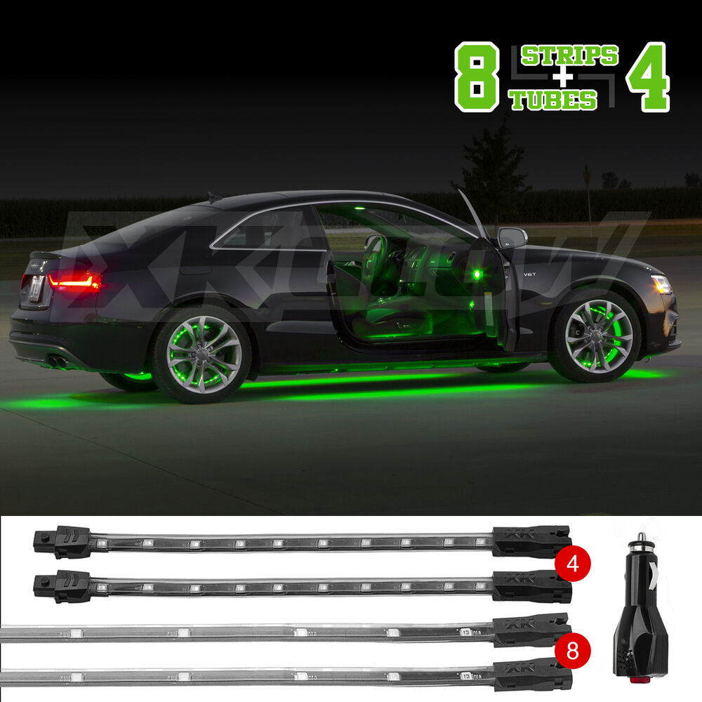 green 12pc premium exterior interior led accent neon light kit all car leds ebay. Black Bedroom Furniture Sets. Home Design Ideas