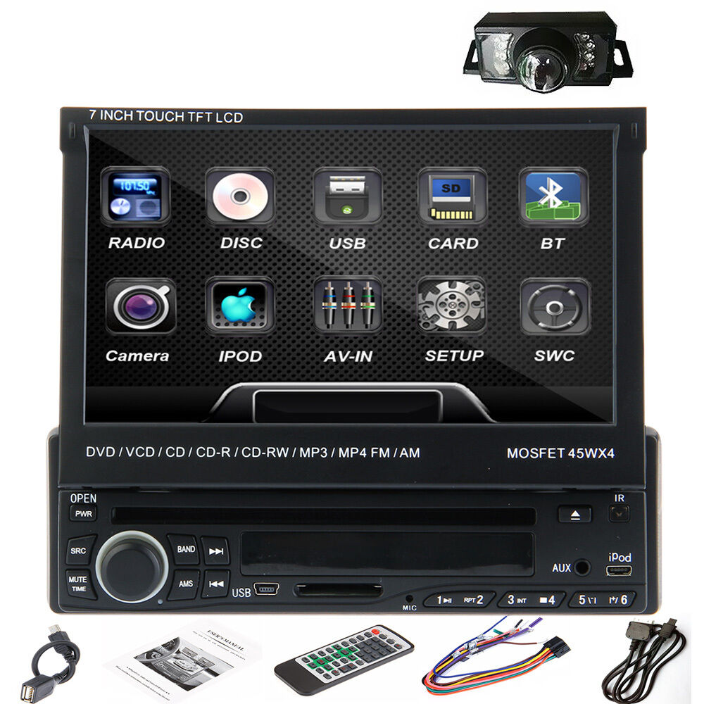 rear cam 7 single 1 din touch screen car stereo radio dvd. Black Bedroom Furniture Sets. Home Design Ideas