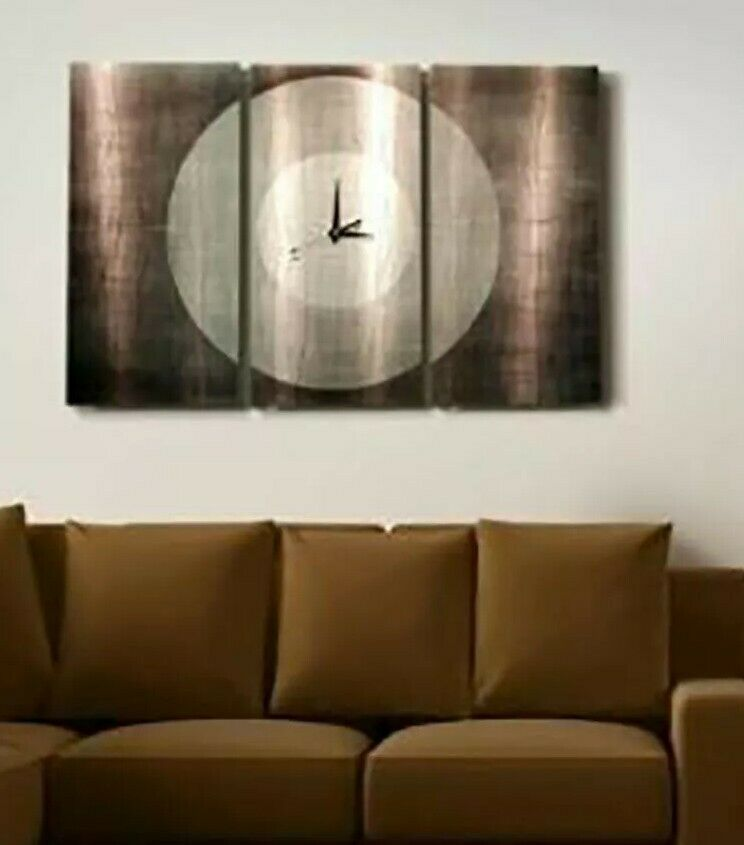 Metal abstract modern large steel silver wall art clock for Large modern wall art