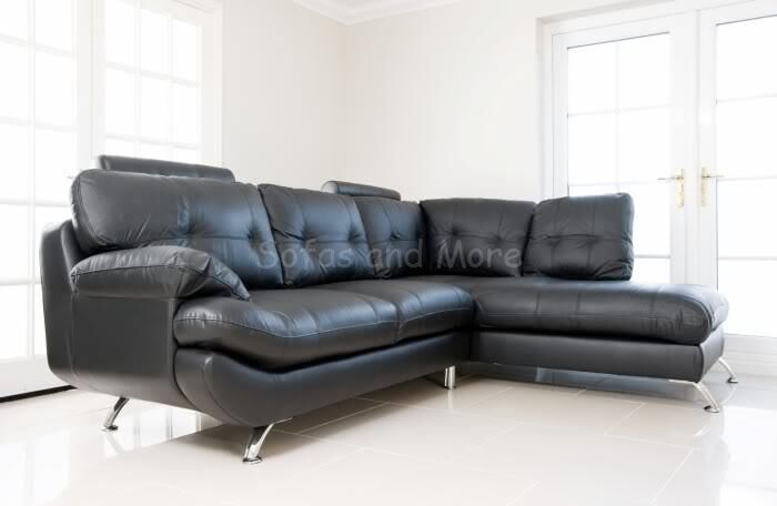 Brand new sandy big corner sofa black red faux leather for Leather living room suit