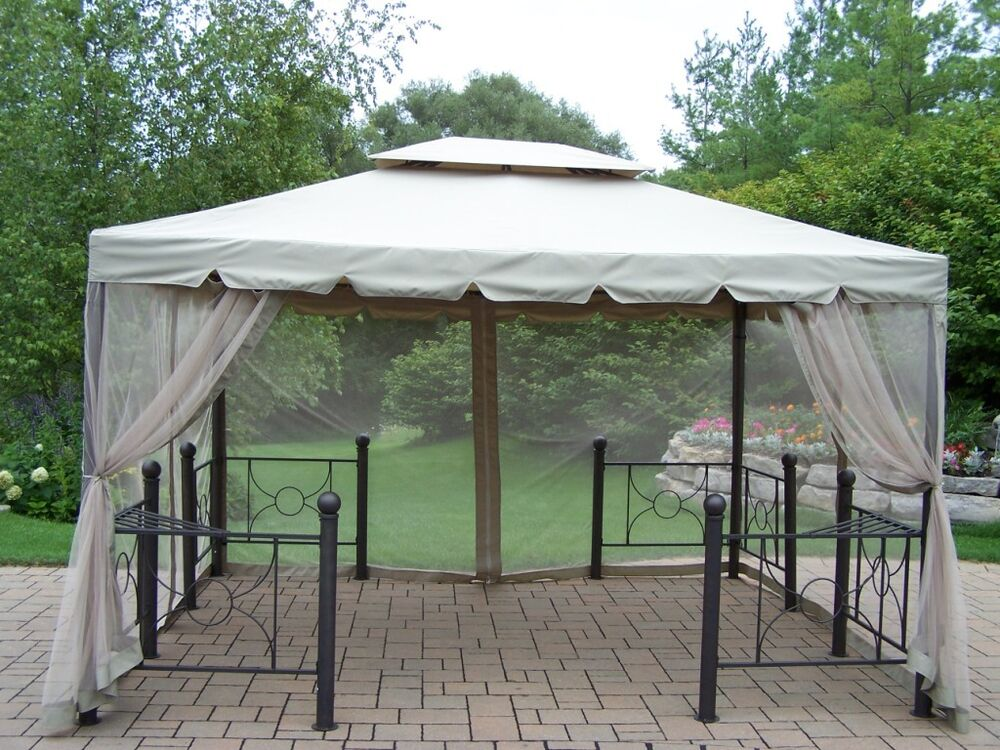 12 x10 gazebo with cover and mosquito netting ebay - Insect netting for gazebo ...